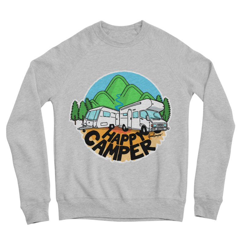 Happy Camper Mountains Women's Sponge Fleece Sweatshirt by Illustrated GuruCamper