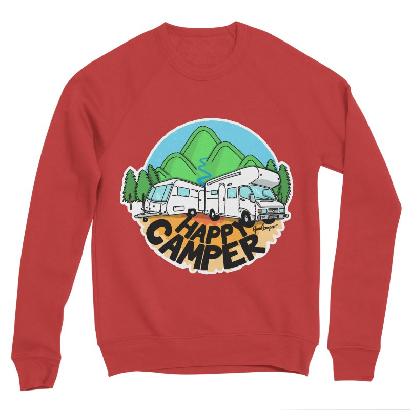 Happy Camper Mountains Women's Sponge Fleece Sweatshirt by Illustrated GuruCamper