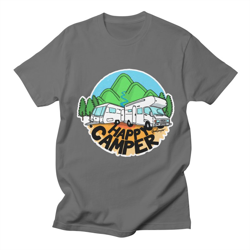 Happy Camper Mountains Men's T-Shirt by Illustrated GuruCamper