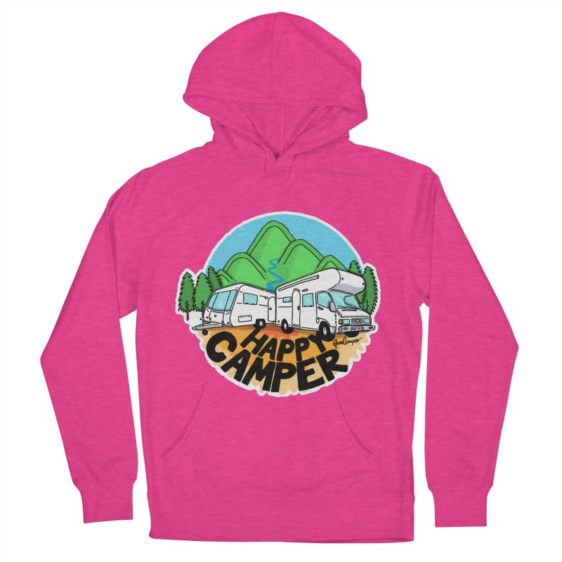 Happy Camper Mountains Women's French Terry Pullover Hoody by Illustrated GuruCamper