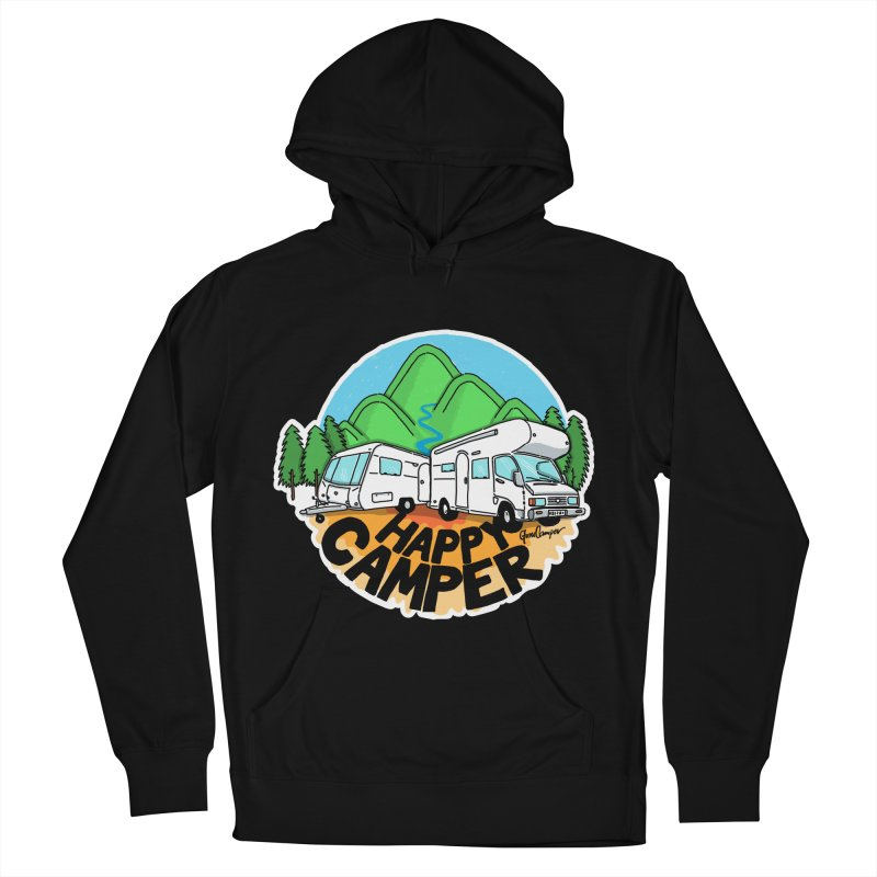 Happy Camper Mountains Men's French Terry Pullover Hoody by Illustrated GuruCamper