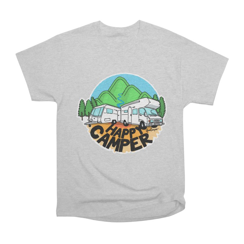 Happy Camper Mountains Women's Heavyweight Unisex T-Shirt by Illustrated GuruCamper