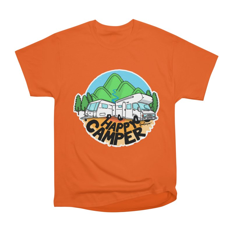 Happy Camper Mountains Men's Heavyweight T-Shirt by Illustrated GuruCamper