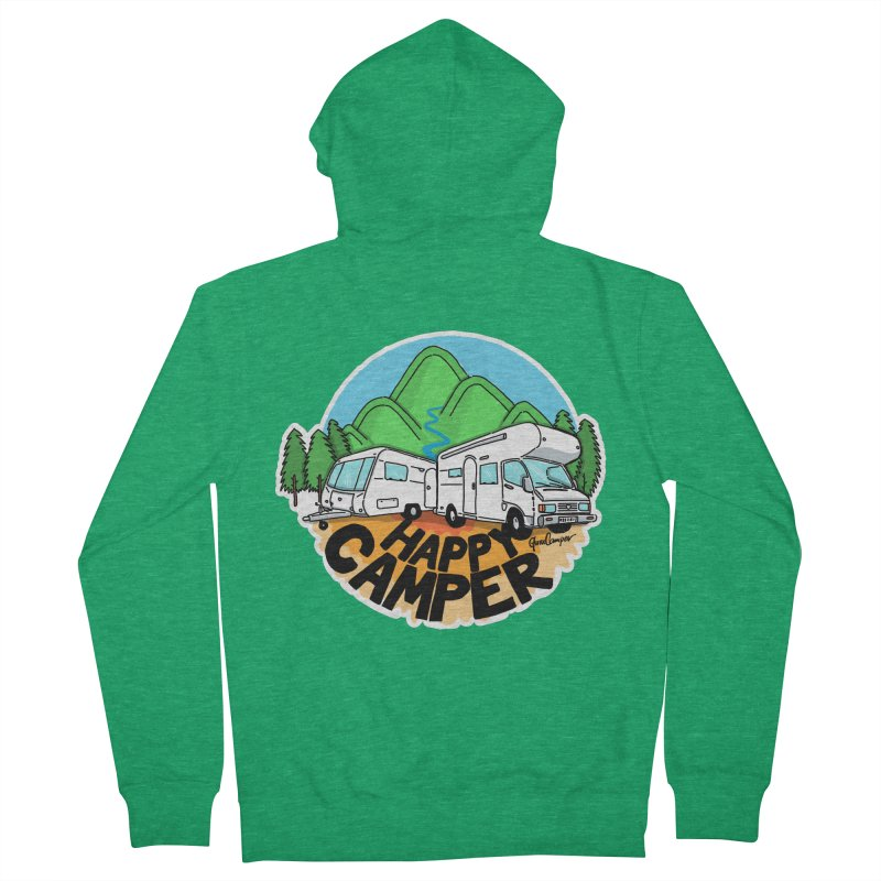 Happy Camper Mountains Women's Zip-Up Hoody by Illustrated GuruCamper