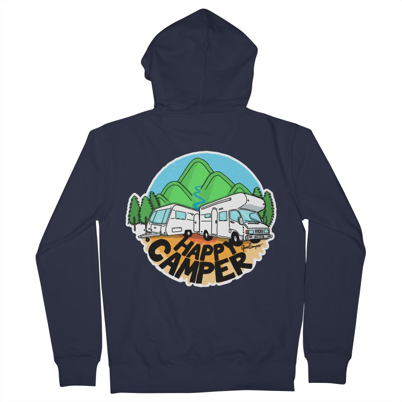 Happy Camper Mountains Women's French Terry Zip-Up Hoody by Illustrated GuruCamper