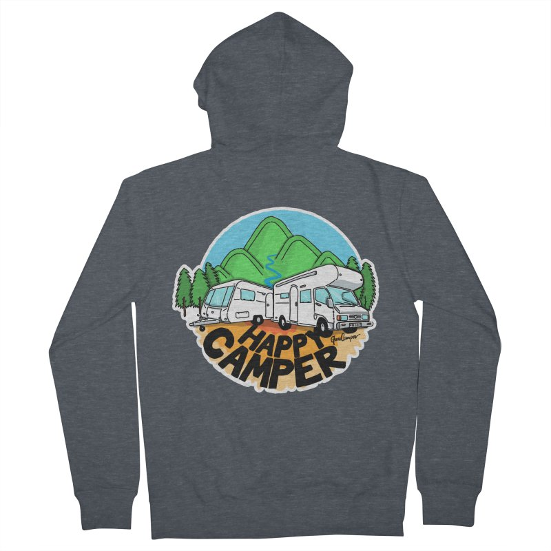 Happy Camper Mountains Men's French Terry Zip-Up Hoody by Illustrated GuruCamper