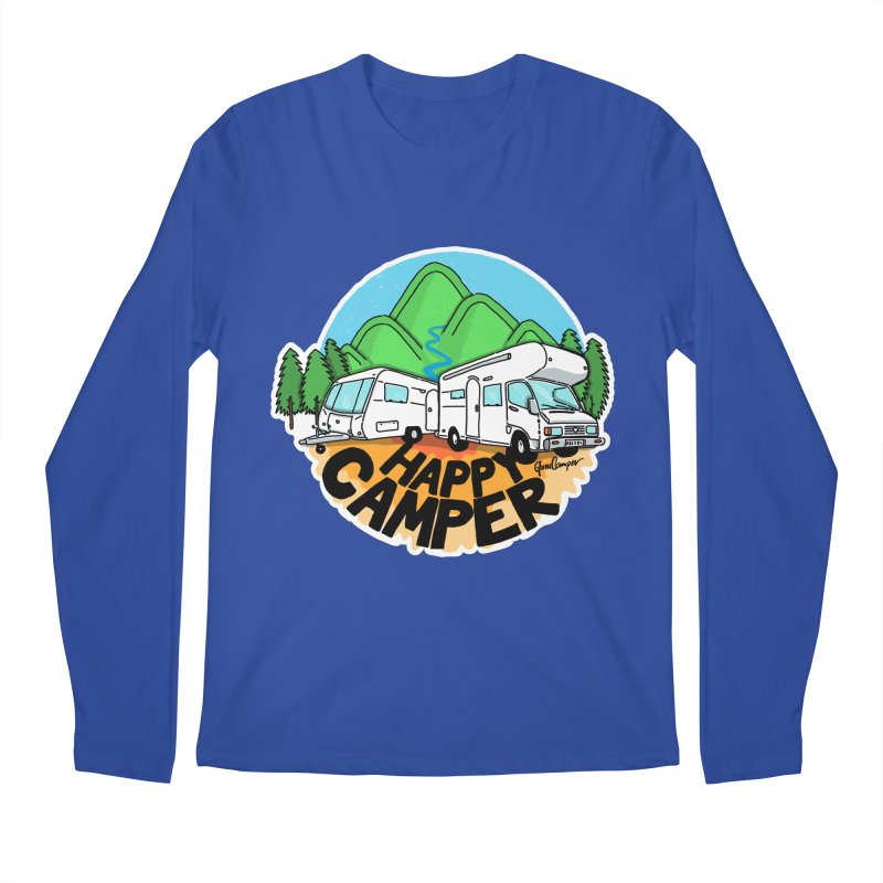 Happy Camper Mountains Men's Regular Longsleeve T-Shirt by Illustrated GuruCamper