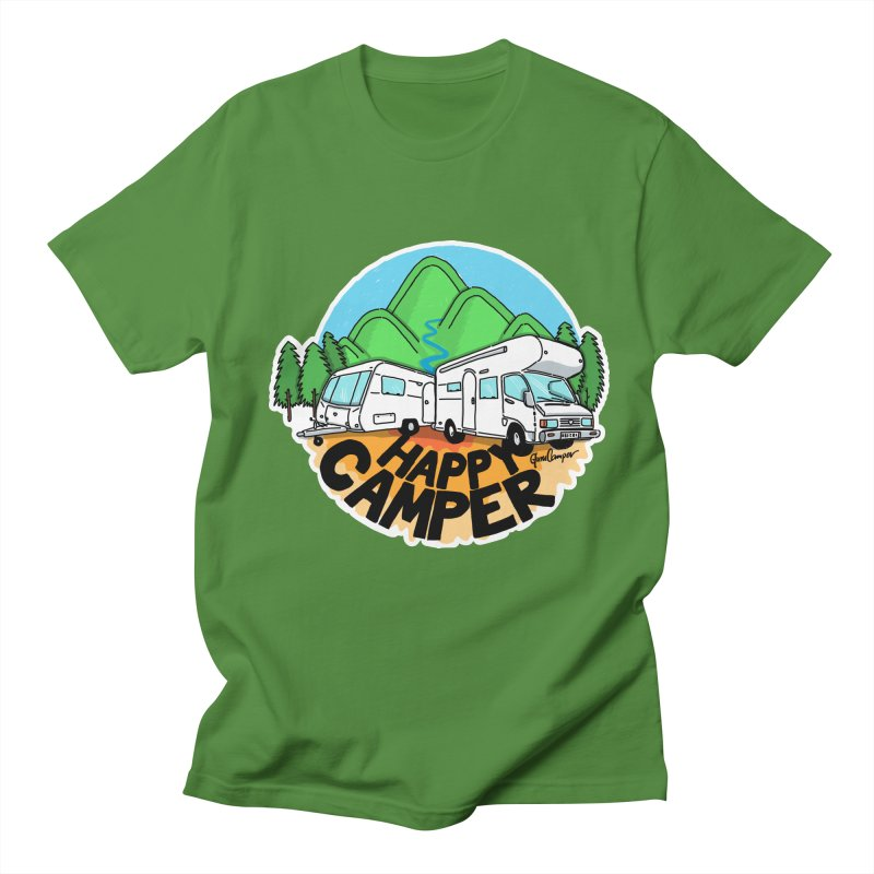 Happy Camper Mountains Men's Regular T-Shirt by Illustrated GuruCamper