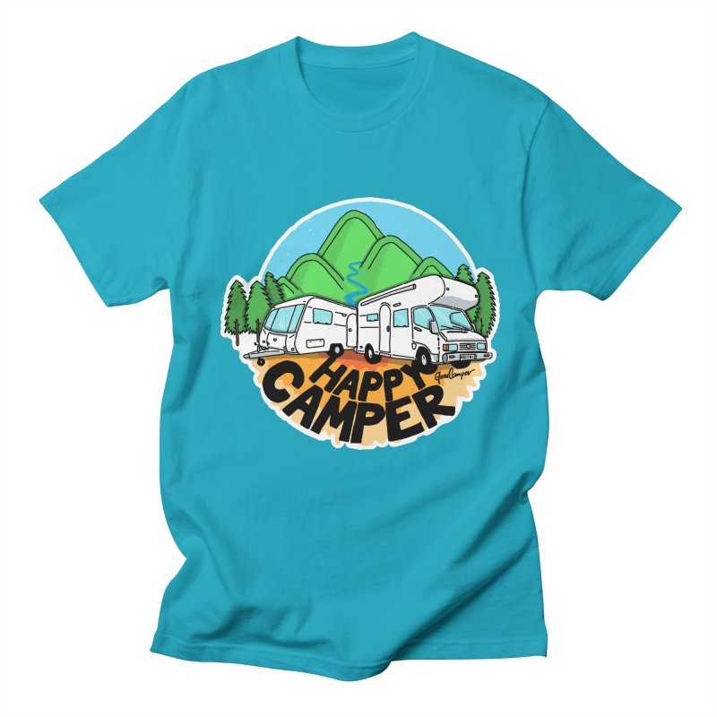 Happy Camper Mountains Women's Regular Unisex T-Shirt by Illustrated GuruCamper