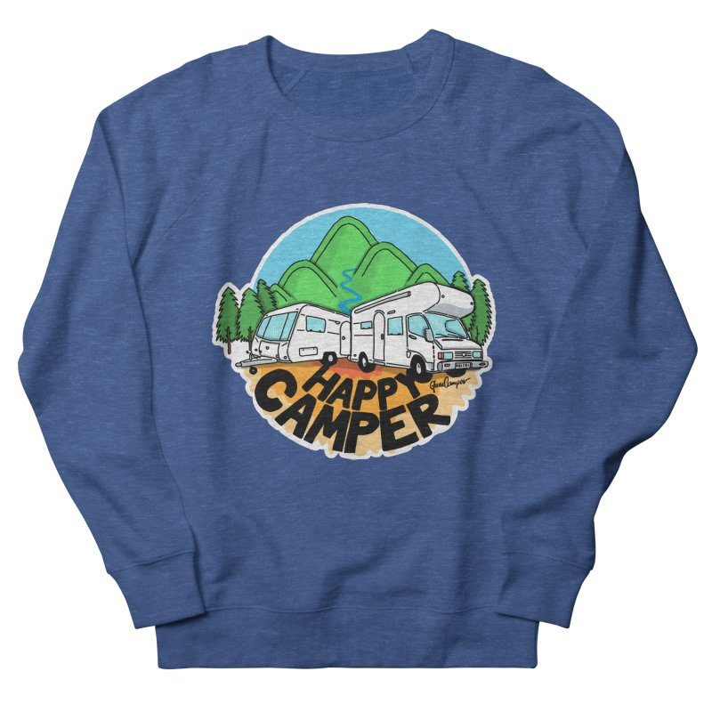 Happy Camper Mountains Men's French Terry Sweatshirt by Illustrated GuruCamper