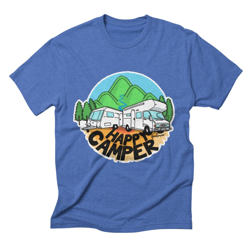 Happy Camper Mountains Men's Triblend T-Shirt by Illustrated GuruCamper