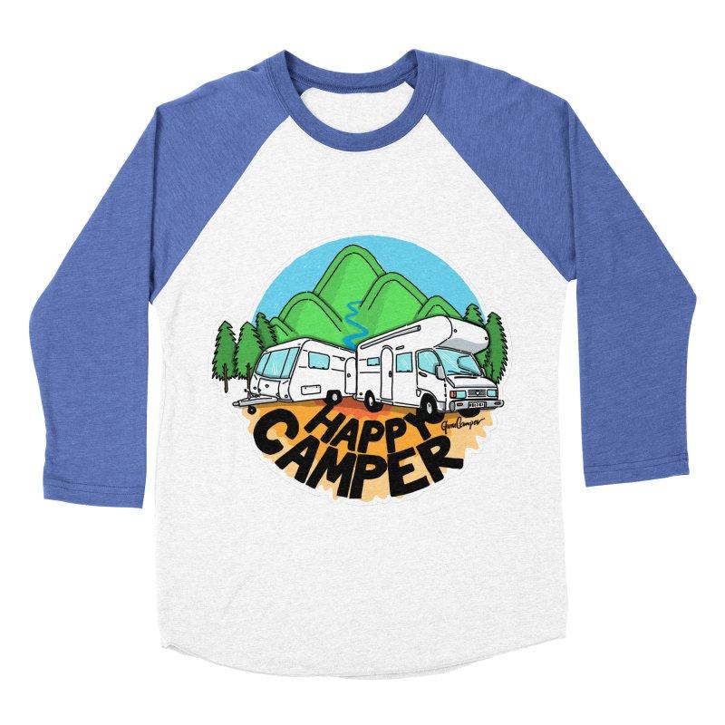 Happy Camper Mountains Women's Baseball Triblend Longsleeve T-Shirt by Illustrated GuruCamper