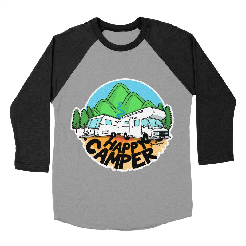Happy Camper Mountains Women's Baseball Triblend Longsleeve T-Shirt by Illustrated GuruCamper