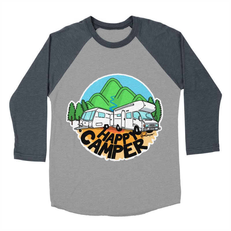 Happy Camper Mountains Men's Baseball Triblend Longsleeve T-Shirt by Illustrated GuruCamper