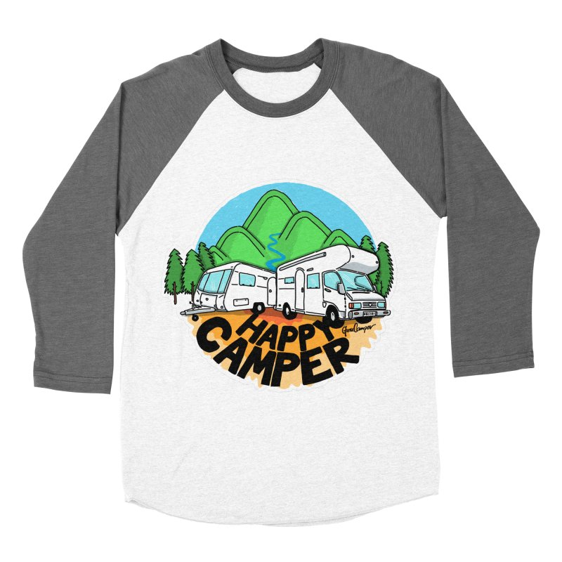 Happy Camper Mountains Men's Baseball Triblend Longsleeve T-Shirt by Illustrated GuruCamper