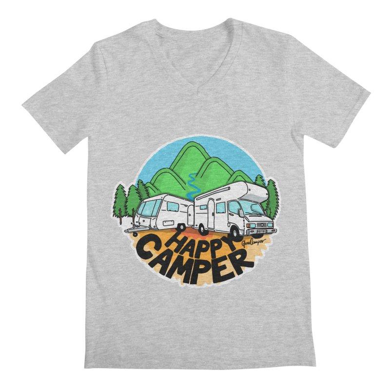Happy Camper Mountains Men's Regular V-Neck by Illustrated GuruCamper
