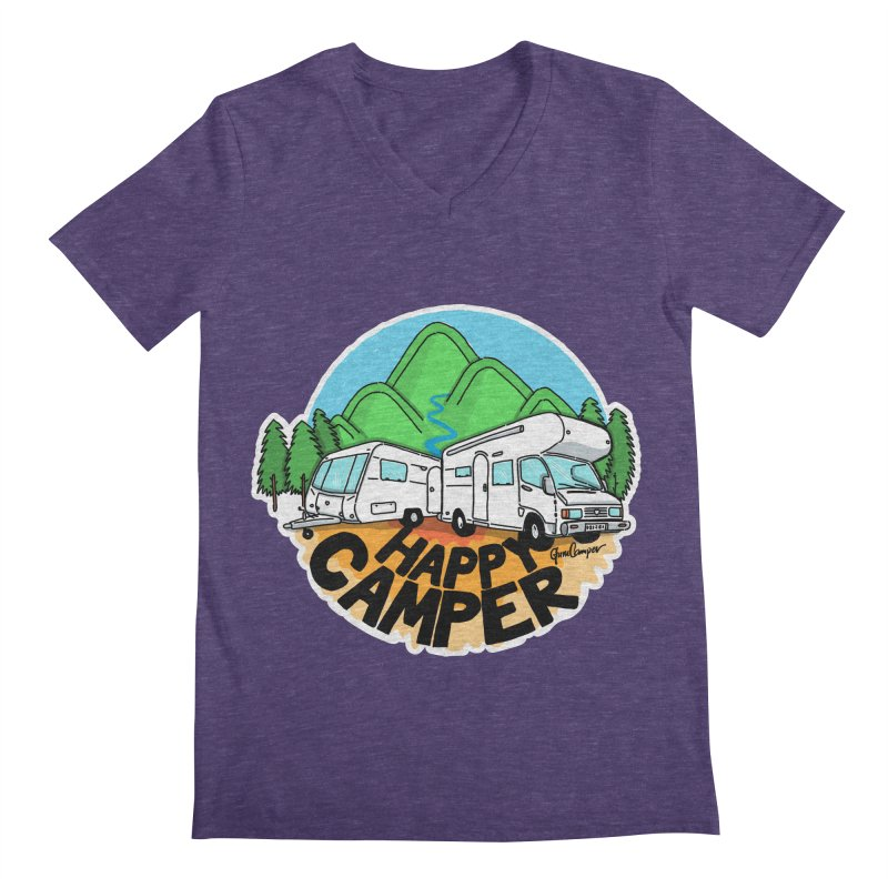Happy Camper Mountains Men's Regular V-Neck by Illustrated GuruCamper