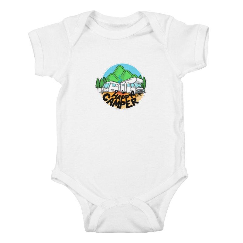 Happy Camper Mountains Kids Baby Bodysuit by Illustrated GuruCamper