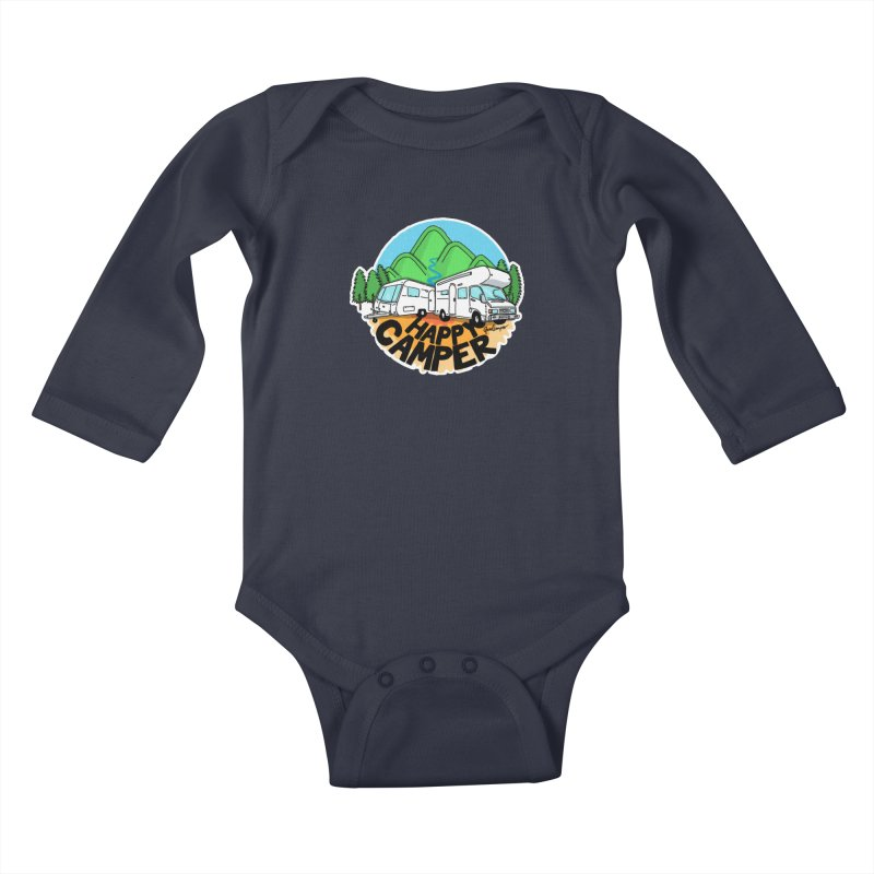 Happy Camper Mountains Kids Baby Longsleeve Bodysuit by Illustrated GuruCamper