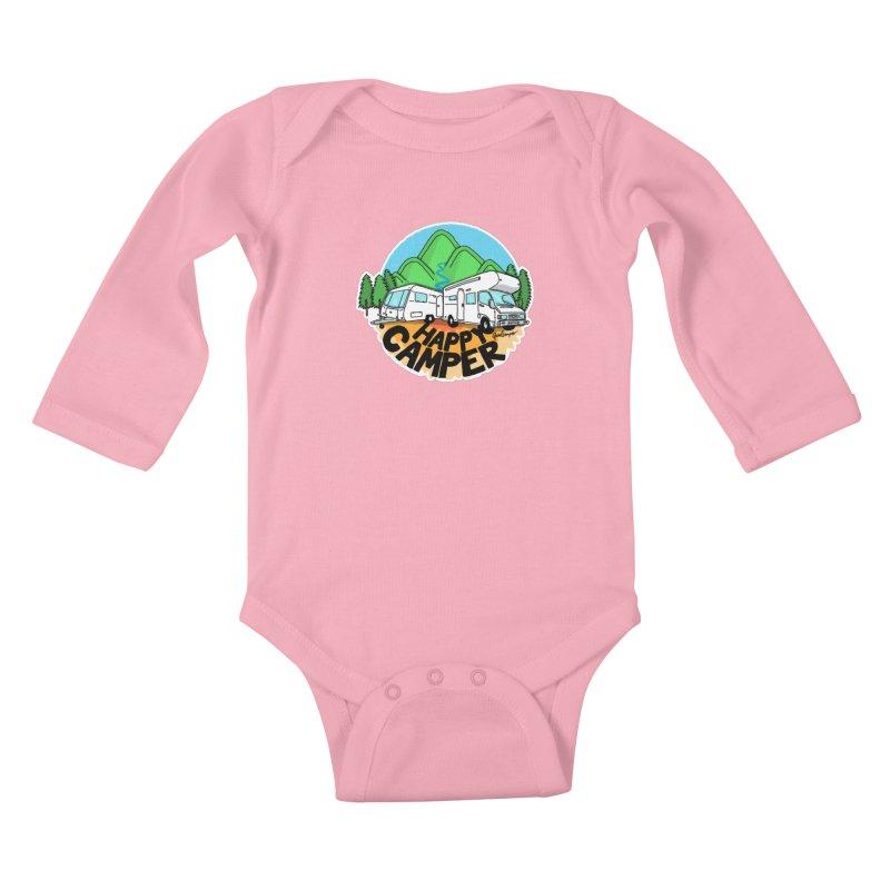 Happy Camper Mountains Kids Baby Longsleeve Bodysuit by Illustrated GuruCamper