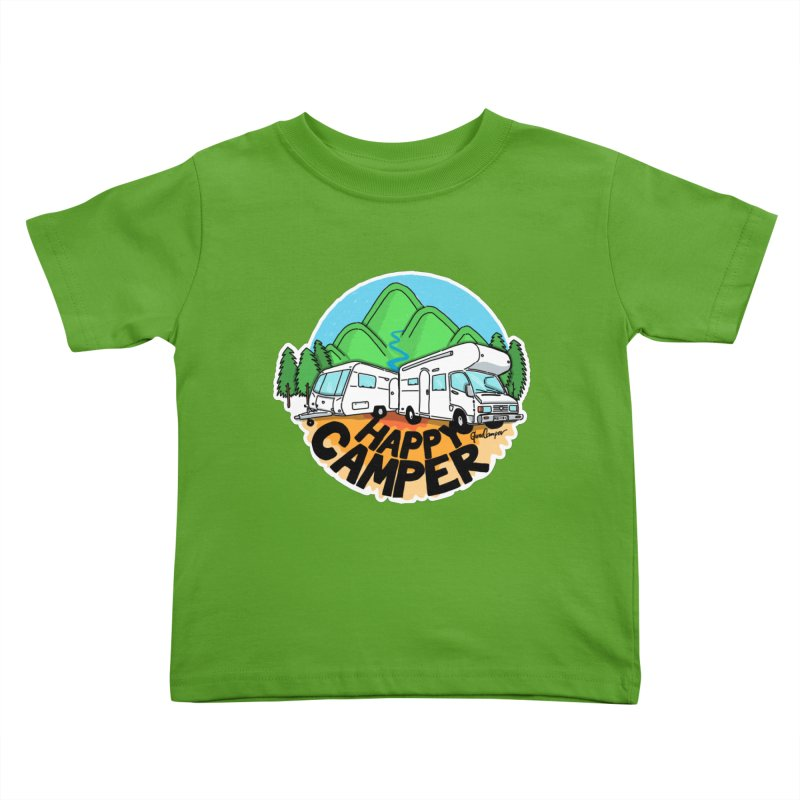 Happy Camper Mountains Kids Toddler T-Shirt by Illustrated GuruCamper