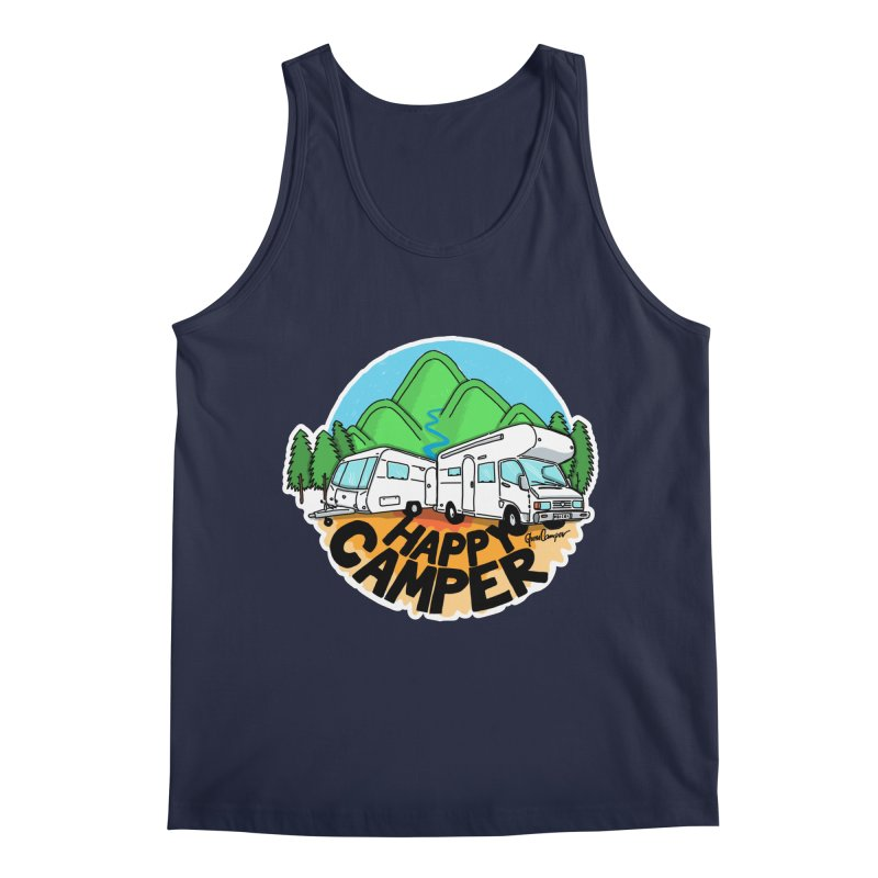 Happy Camper Mountains Men's Regular Tank by Illustrated GuruCamper