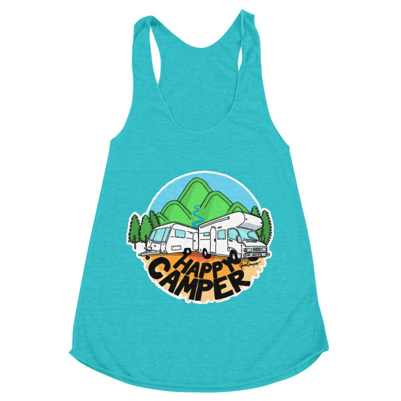 Happy Camper Mountains Women's Racerback Triblend Tank by Illustrated GuruCamper