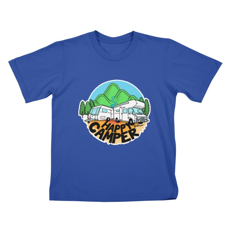 Happy Camper Mountains Kids T-Shirt by Illustrated GuruCamper