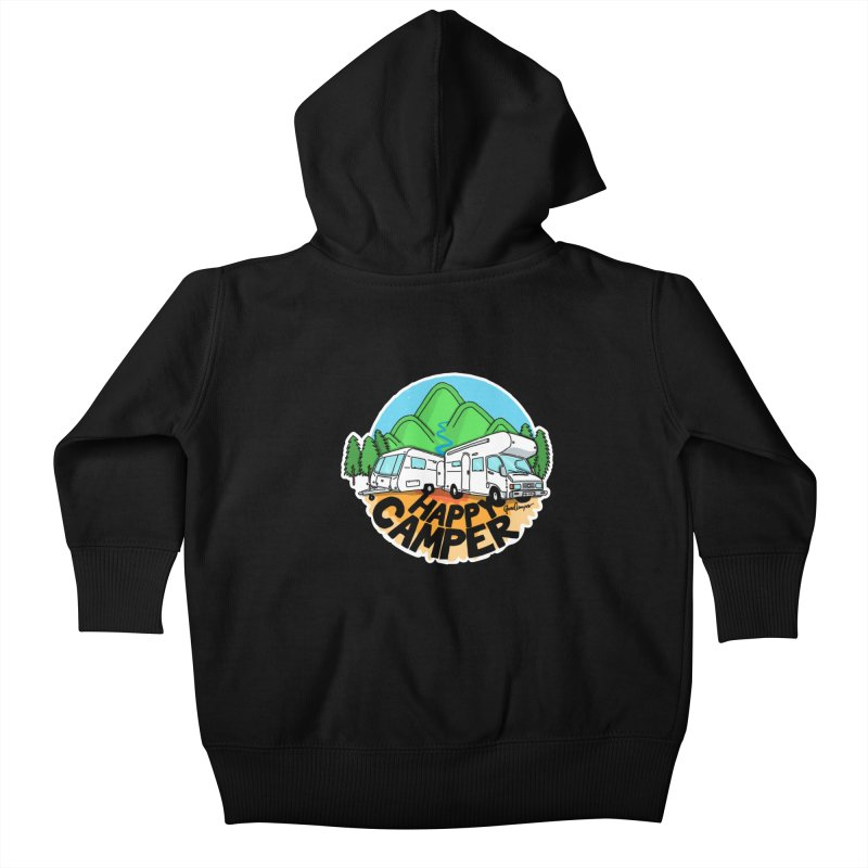Happy Camper Mountains Kids Baby Zip-Up Hoody by Illustrated GuruCamper