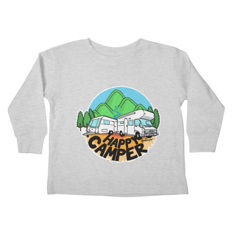 Happy Camper Mountains Kids Toddler Longsleeve T-Shirt by Illustrated GuruCamper