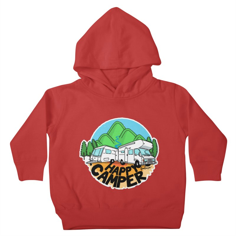 Happy Camper Mountains Kids Toddler Pullover Hoody by Illustrated GuruCamper