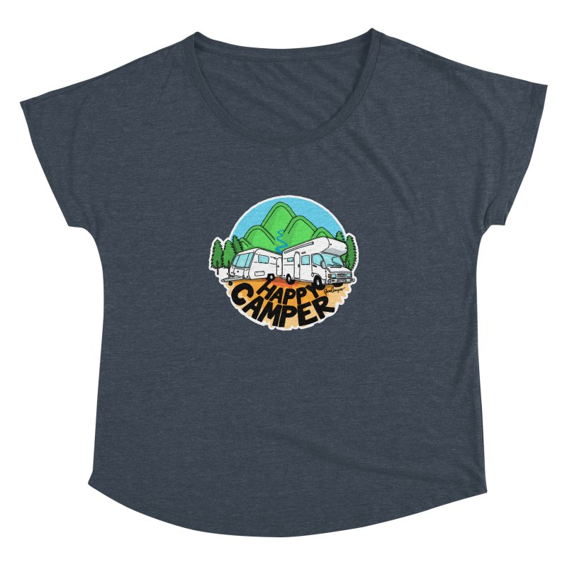 Happy Camper Mountains Women's Dolman Scoop Neck by Illustrated GuruCamper