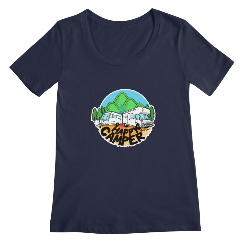 Happy Camper Mountains Women's Regular Scoop Neck by Illustrated GuruCamper
