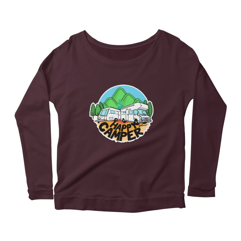 Happy Camper Mountains Women's Scoop Neck Longsleeve T-Shirt by Illustrated GuruCamper