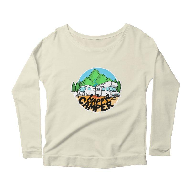 Happy Camper Mountains Women's Scoop Neck Longsleeve T-Shirt by Illustrated GuruCamper