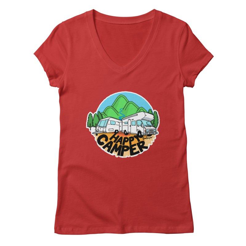 Happy Camper Mountains Women's Regular V-Neck by Illustrated GuruCamper