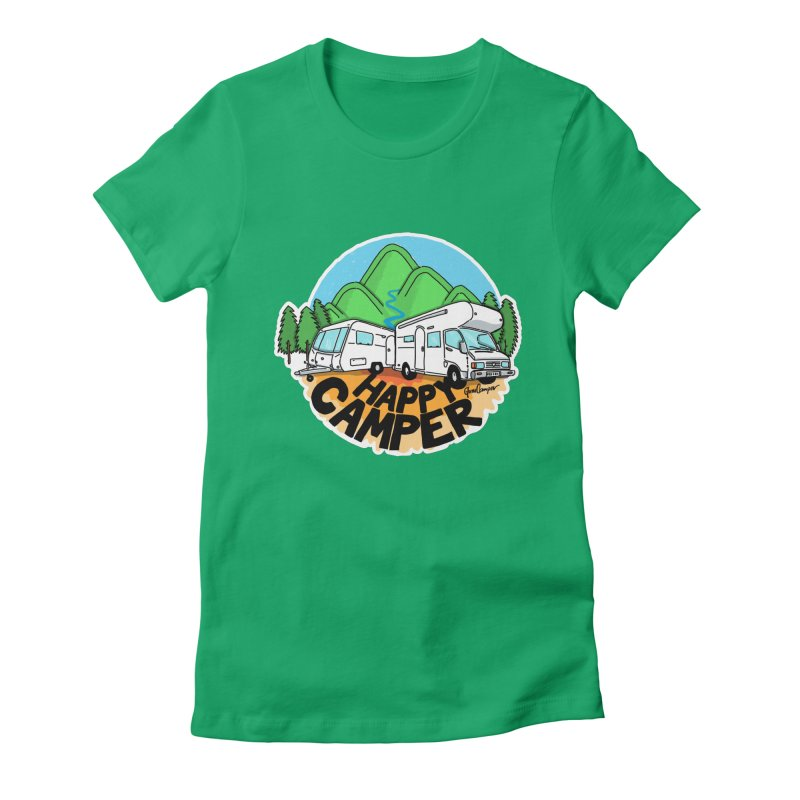Happy Camper Mountains Women's Fitted T-Shirt by Illustrated GuruCamper