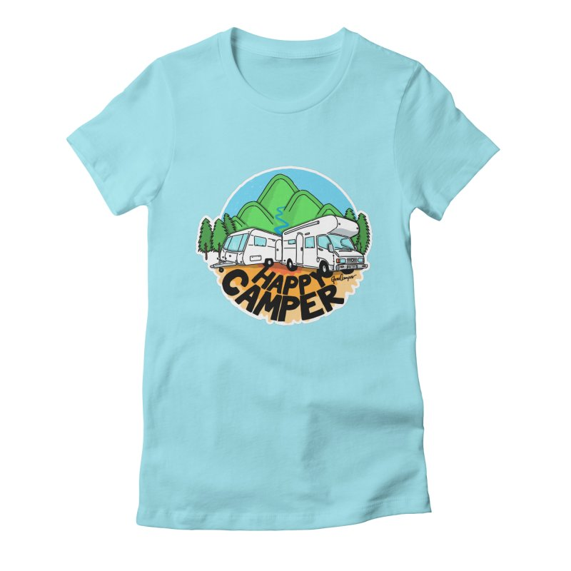 Happy Camper Mountains Women's T-Shirt by Illustrated GuruCamper