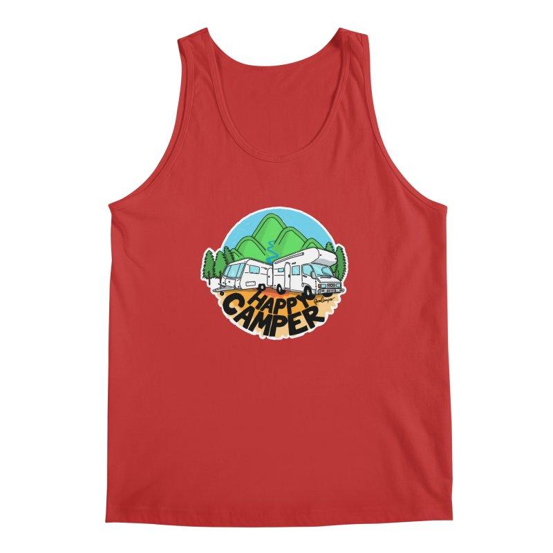 Happy Camper Mountains Men's Regular Tank by Illustrated GuruCamper
