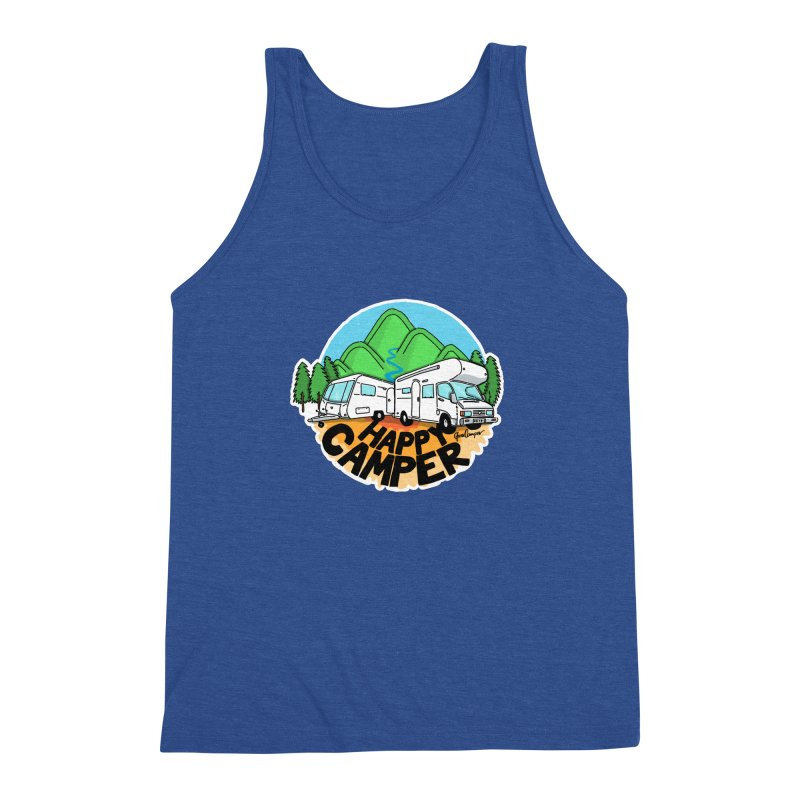 Happy Camper Mountains Men's Triblend Tank by Illustrated GuruCamper