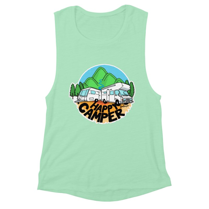 Happy Camper Mountains Women's Muscle Tank by Illustrated GuruCamper