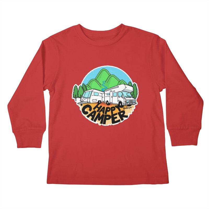Happy Camper Mountains Kids Longsleeve T-Shirt by Illustrated GuruCamper