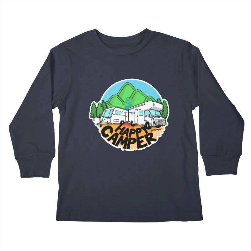 Happy Camper Mountains Kids Longsleeve T-Shirt by Illustrated GuruCamper