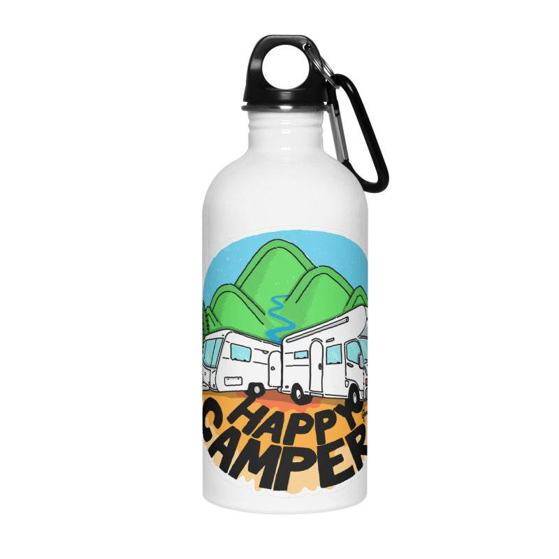Happy Camper Mountains Accessories Water Bottle by Illustrated GuruCamper