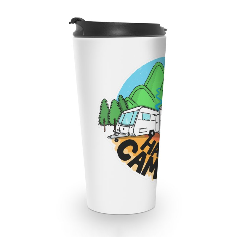 Happy Camper Mountains Accessories Travel Mug by Illustrated GuruCamper