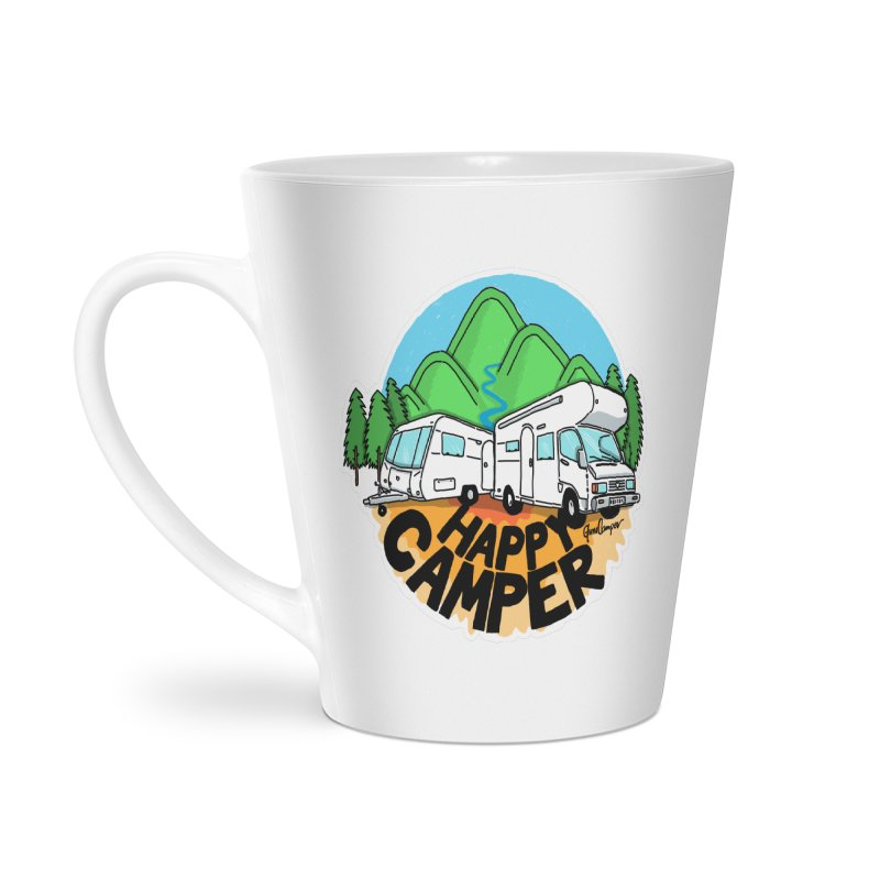 Happy Camper Mountains Accessories Latte Mug by Illustrated GuruCamper