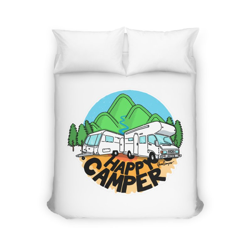 Happy Camper Mountains Home Duvet by Illustrated GuruCamper