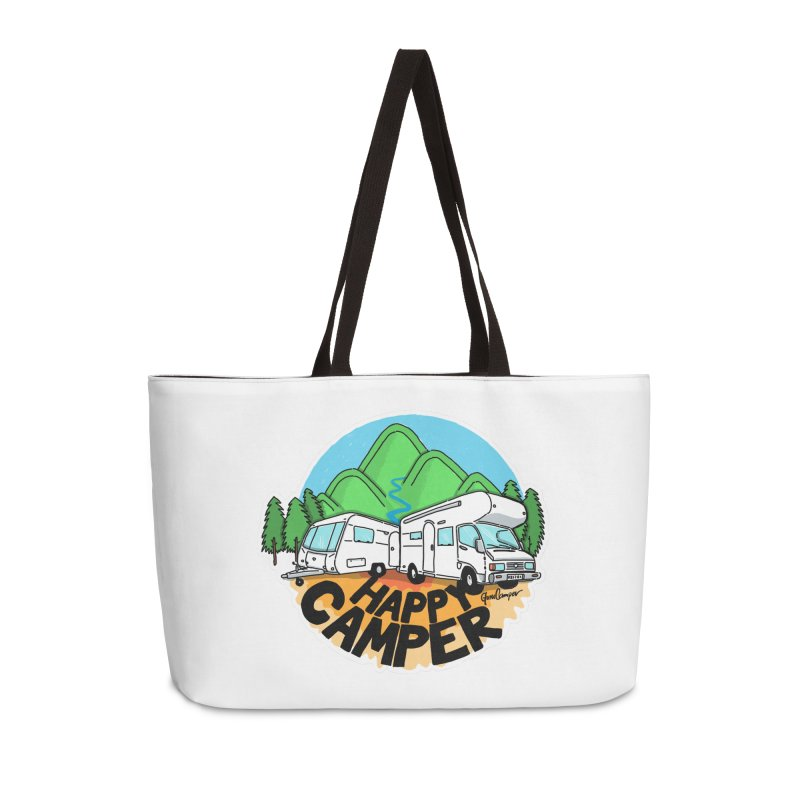Happy Camper Mountains Accessories Weekender Bag Bag by Illustrated GuruCamper