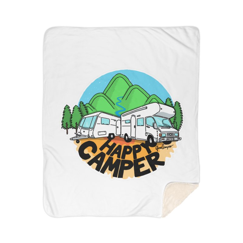 Happy Camper Mountains Home Sherpa Blanket Blanket by Illustrated GuruCamper
