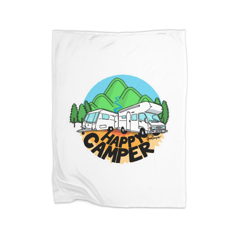 Happy Camper Mountains Home Fleece Blanket Blanket by Illustrated GuruCamper